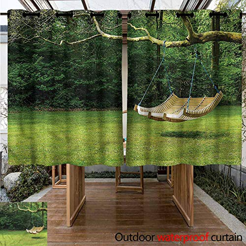 Sunnyhome Outdoor Curtain Panel for Patio Garden Curved Swing Bench on Tree Simple Stylish W 63