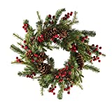Kurt Adler H4091 24'' Battery-Operated Red Berry Pinecone LED Wreath