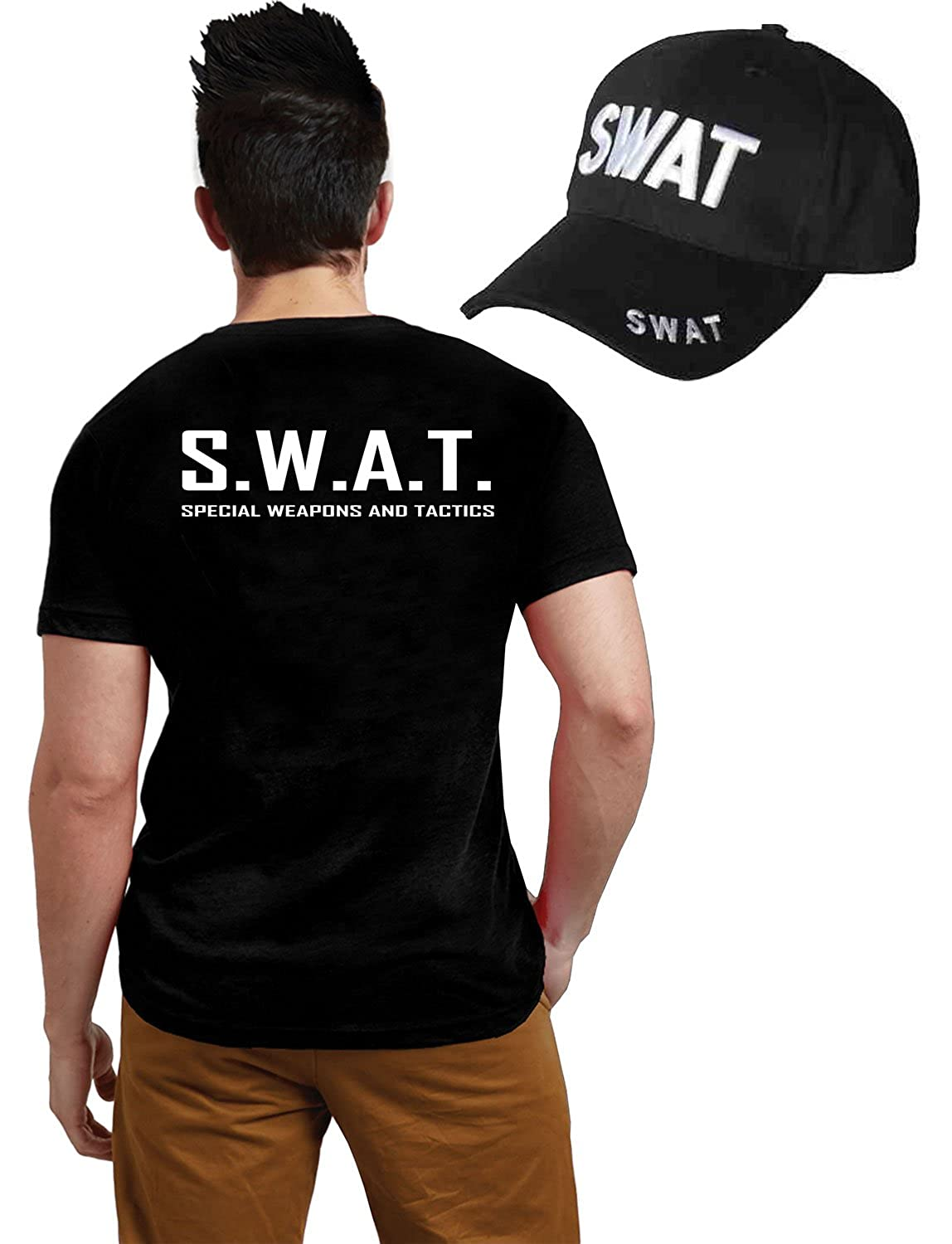 04e3d394 Amazon.com: Glossy Look Men's Swat Team T-Shirt & Cap Police Military Lot  Accessory Costume Large Black: Clothing