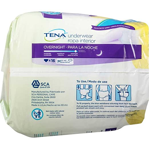 Amazon.com: Tena Overnight Underwear M 32 inch to 42 inch 16 ct Pack - 4 Packs per case.: Health & Personal Care