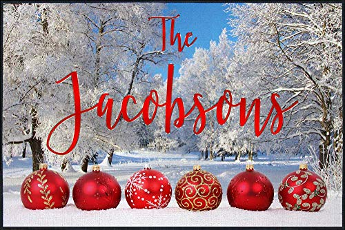 Pro-Tuff Decals Personalized Holiday Door Mat Christmas Ornaments and Winter Scene with Your Name (24