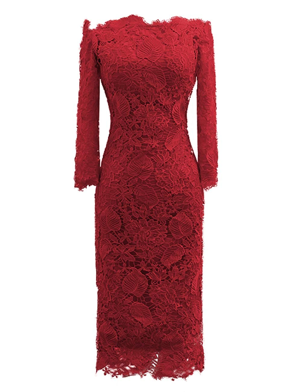 Dark Red JAEDEN Mother of The Bride Dresses with Long Sleeves Lace Formal Evening Gowns Mermaid Evening Dresses Off The Shoulder