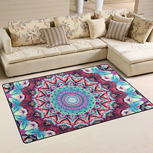 Sunlome Hippie Mandala Bohemian Psychedelic Area Rug Rugs Non-Slip Indoor Outdoor Floor Mat Doormats for Home Decor 31 x 20 inches