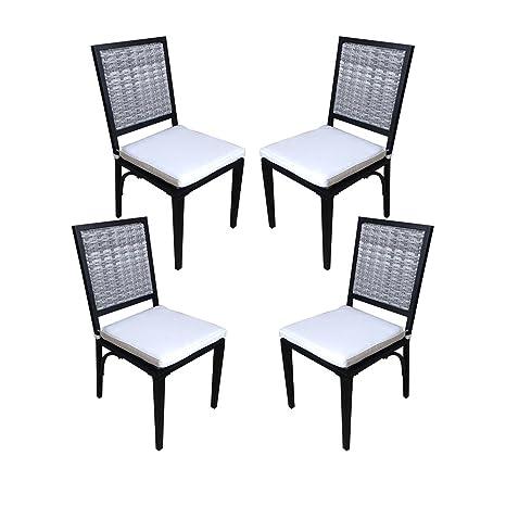 Waroom Home - Juego de 2 sillas de mimbre para exteriores ...