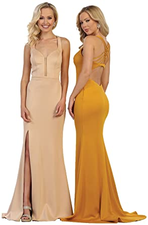 c052b46fdde Formal Dress Shops Inc FDS1561 Simple Sexy Evening Prom Gown at Amazon  Women s Clothing store
