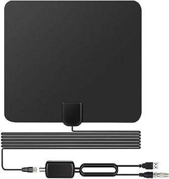 Antena de TV, [2018 Version Mejorada] Antena Interior TV, Mayor Rango de Recepción de 60 Millas/96 KM, Antena HDTV Digital con Amplificador de Señal y ...