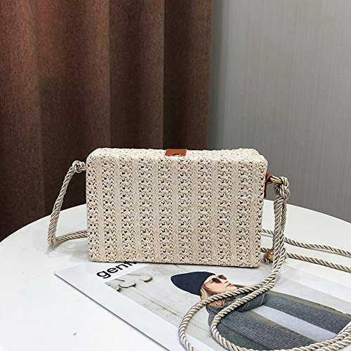Bag Crossbody Beige Summer Beach Linen Bag Woven Bag for Shoulder with Olyphy Lock Women zwpEZnq