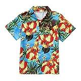 Hatoys Summer Baby Boys Girls Coconut Print T-Shirt Outfits Button-Down Shirt Hawaiian Tops (3T(Height:105-110CM), Blue)