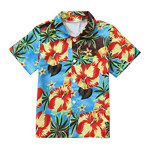 Hatoys Summer Baby Boys Girls Coconut Print T-Shirt Outfits Button-Down Shirt Hawaiian Tops (3T(Height:105-110CM), Blue) by Hatoys