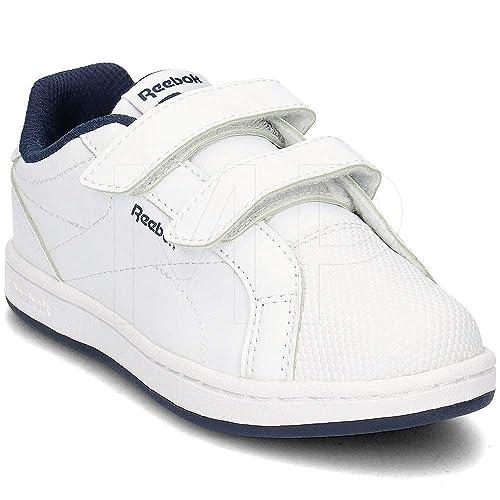 6c6773d5141 Reebok Boys Royal COMP CLN 2V Tennis Shoes White/Collegiate Navy Blue 000  1UK Child
