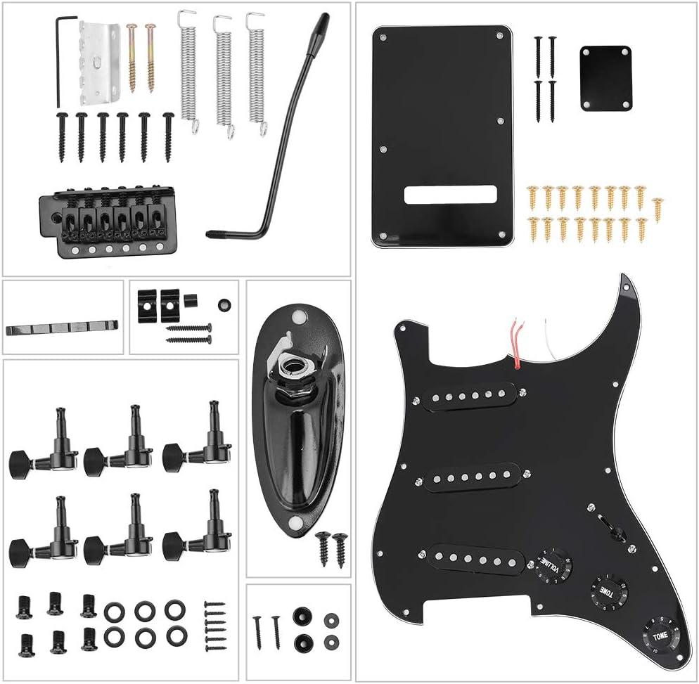 Alomejor Kit de Guitarra eléctrica de Bricolaje, 1 Juego de Estilo St Black Kits de Guitarra eléctrica de Bricolaje Pick Guard contraportada con Herramientas de afinación y Bolsa para Guitarra