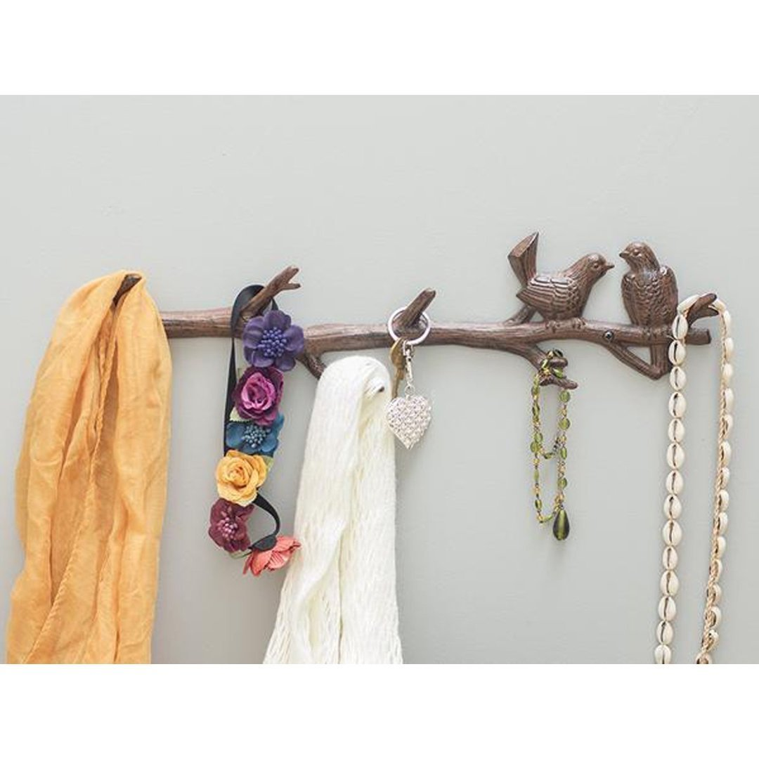 Amazon.com: Hierro fundido Pájaros sobre rama Colgador con 6 ...