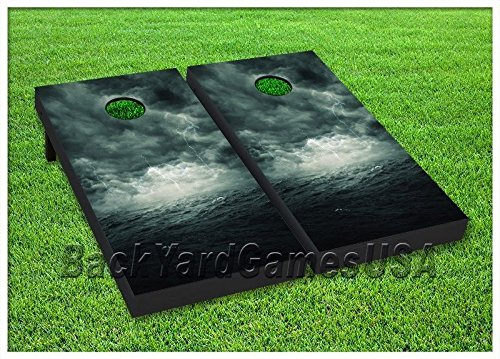 CornholeボードセットBeanbag Toss Game Ocean Perfect Storm Wバッグセット90   B071R2G4N9