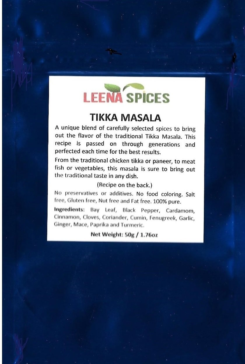 LEENA SPICES – Tikka Masala Seasoning Powder Spice – Gluten Free Mix – No Color Or Salt – Mild Dry Blend - Indian Tandoori Chicken Grill Recipe Included – Enjoy The Delicious Taste.