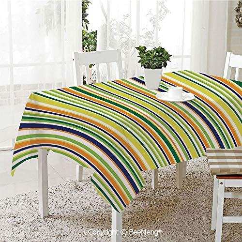 BeeMeng Large dustproof Waterproof Tablecloth,Family Table Decoration,Striped,Vibrant Lines Pattern Textured Inspirational Uniform Vein Rod Forms Image Print,Multicolor,70 x 104 inches