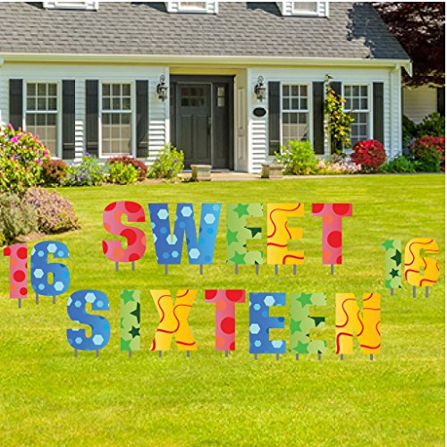 Sweet Sixteen Yard Decoration - Sweet Sixteen Letters Lawn Display - 27 Stakes ()