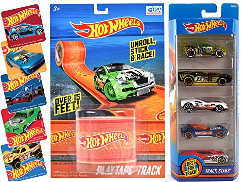 Hot Wheels Track Stars 5 Car Set & Hot Wheels Play Tape Track 1.75 Inch x 15 Inch - Orange + Action Stickers 2016 race car set 5 (Hot Wheels Paper)