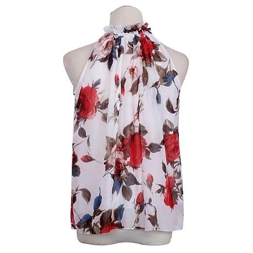 Fulltime(TM) Women Sexy Chiffon Sleeveless High Ruffle Neck Floral Shirt  Tops Blouse: Amazon.co.uk: Clothing