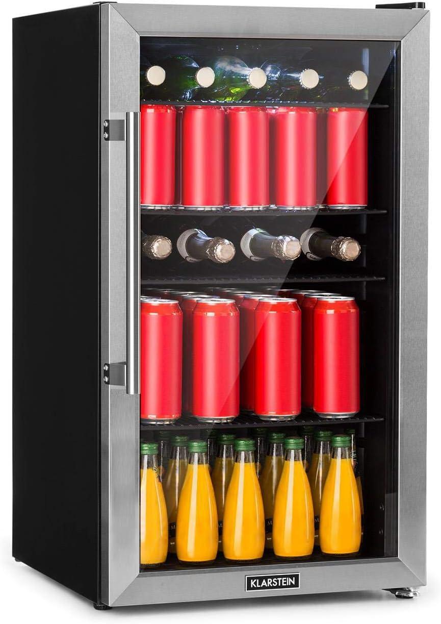 Klarstein Beersafe XL - Minibar, Nevera para bebidas, Refrigerador, Silencioso, Puerta de cristal, Iluminación LED, Acero inoxidable, Clase A+, 47 x 83 x 52 cm, Volumen 98 L, Antracita