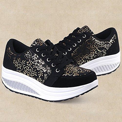 Scarpe Scarpe Cunei 2 Dimagrante Passeggio Piattaforma Sneaker Fitness Scarpe nero Ginnastica Donne amp; QZBAOSHU q1Stn