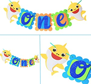 1st Baby Shark Birthday Banner One Birthday Shark Banner First Shark Highchair Banners Doo Doo Shark Decoration Party Supplies For Boys Girls