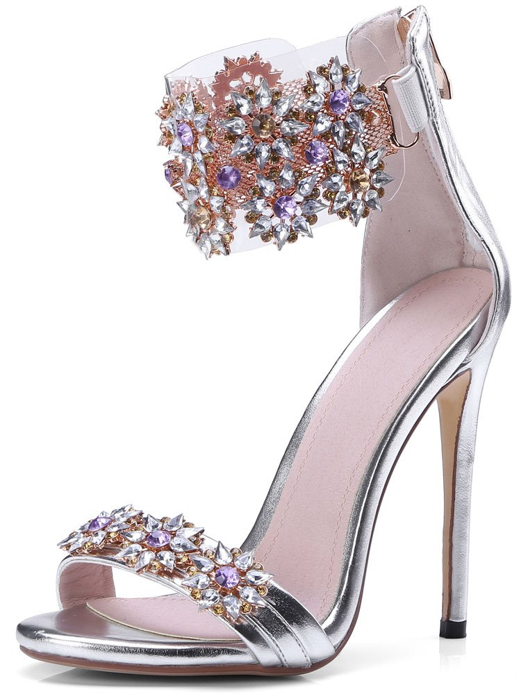 High Heel Rhinestone Sandals, Women's Stiletto Sandals, Silver Sandals Women Size 9.5-10