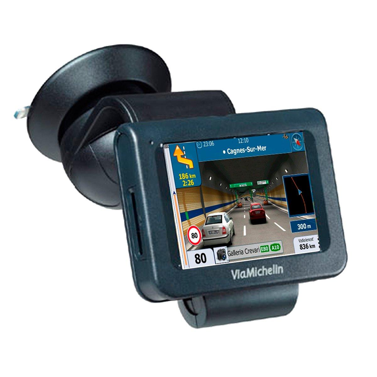 Navegador GPS con Avisador de Radares Actualizable Chip Sirf III Soporte de Ventosa para Cristal BVC