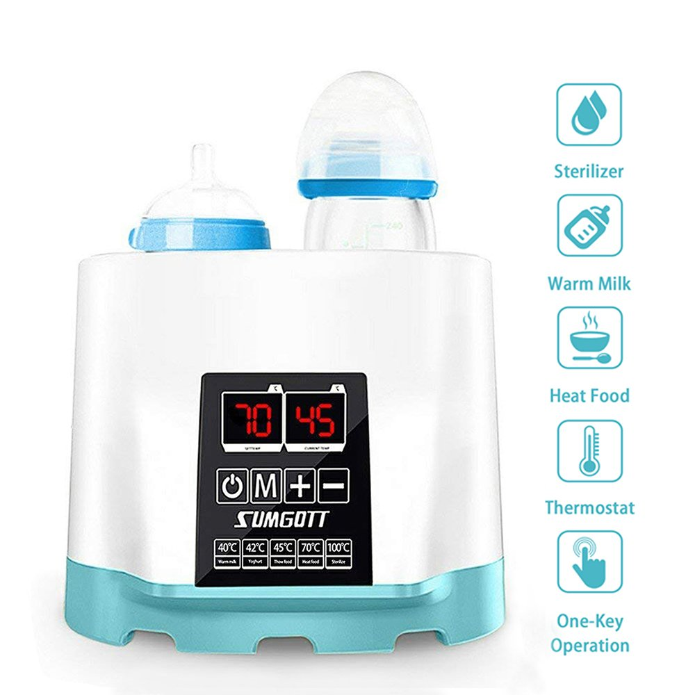 Baby Flaschenwärmer, SUMGOTT 5-in-1 Multifunktionale Flaschen Sterilisator und babykostwärmer mit LCD-Bildschirm (Einschließen Pinsel und Flaschenklammer) Baby Flaschenwärmer