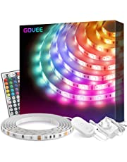 LED Strip Lights 5 Metre, Govee Waterproof RGB Lighting Strip Kits with 44 Key Remote for Bedroom, Kitchen, Desk, TV, Multicolour LED Strip Lights with 3M Adhesive and Clips, 12V Power Supply UK Plug