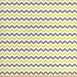 Ambesonne Geometric Fabric by The Yard, Horizontal Chevron Pattern Zigzag Endless Simplicity Artful Design Print, Decorative Fabric for Upholstery and Home Accents, Grey Yellow White