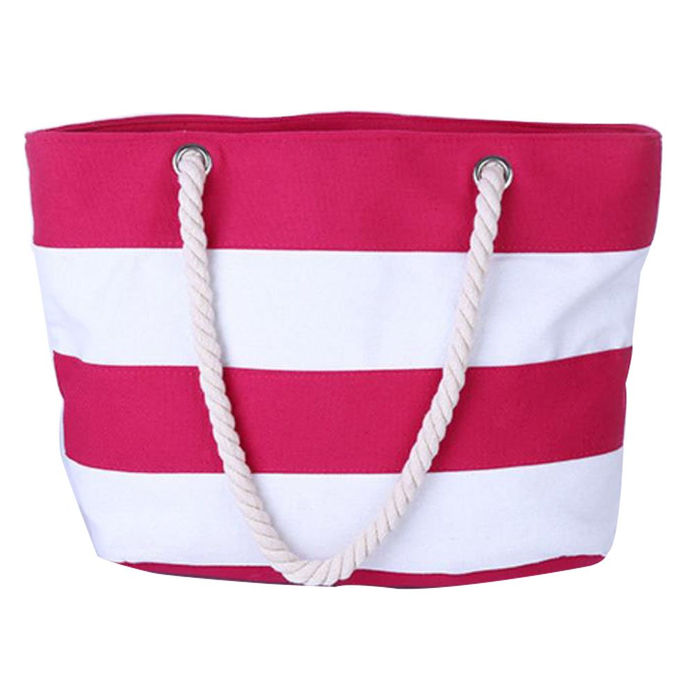 Beach Bag Waterproof Canvas Tote Large Tote Shoulder Water Resistance For Women with Top Zipper Closure Rope Handles Pocket Travel Cotton Handle School Work Daily Life (45cm31cm14cm, Rose Red Strip)