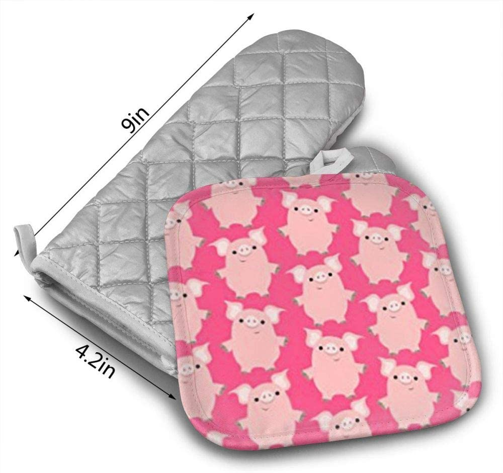 Non-Slip Grip Oven Gloves PotholderCooking,Baking /& BBQ, Kitchen Oven Mitt Heat Resistant QWDGK Cute Friendly Cartoon Pigs Cotton Oven Mitts Pot Holders Set