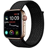 Haotop Replacement Bands Compatible with Apple Watch, Woven Nylon Sport Loop Band Wristband Replacement Bracelet for iWatch Straps Series 4/3/2/1 (42MM/44MM, Black/Pure Platinum)