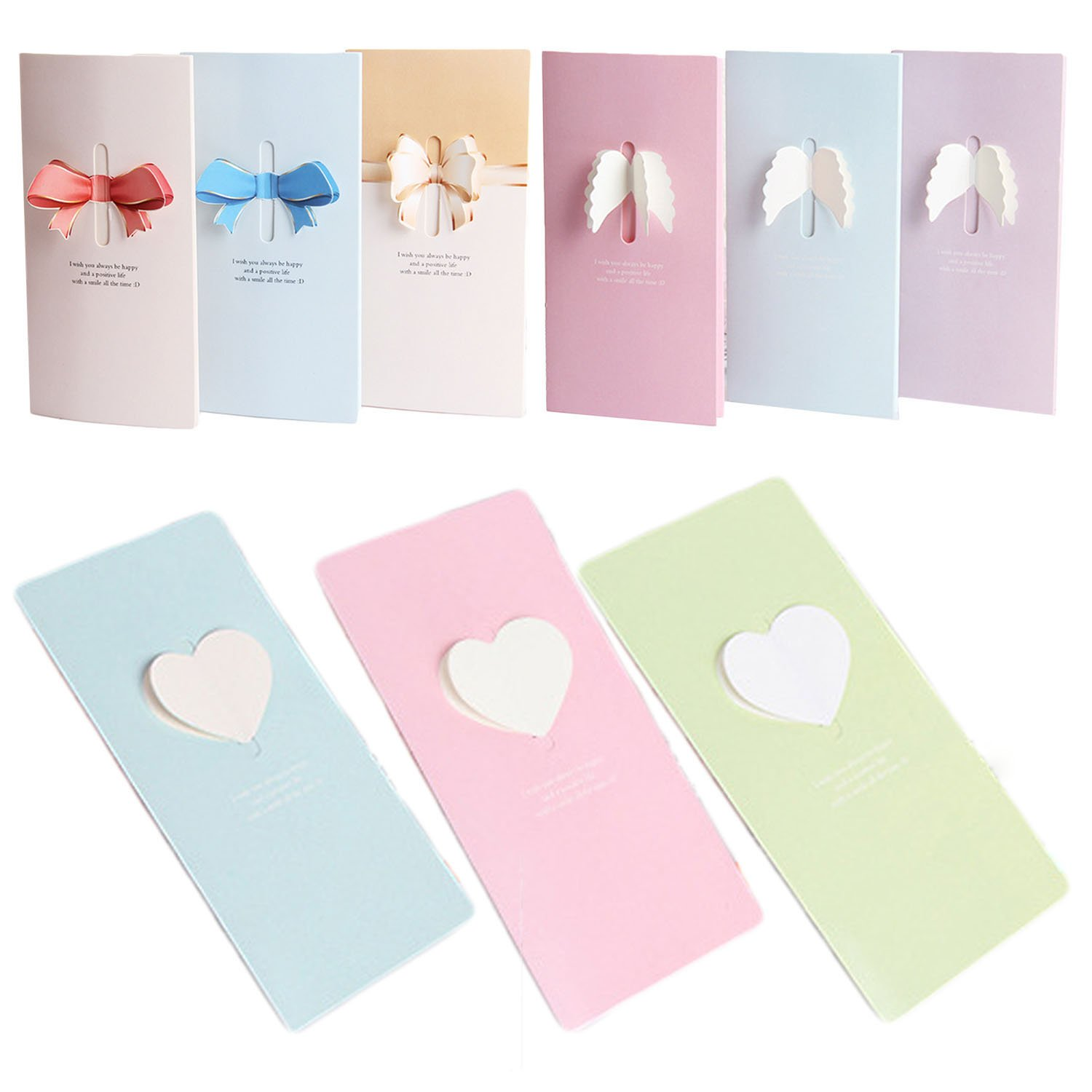 Ai-life 18Pcs 3D Pop Up Assorted Design and Color Lined Greeting Cards Thank You Note Cards with Envelopes, Folding Gift Cards for Wedding, Graduation, Bridal and Baby Shower, Blessing, Birthday, Valentine and Christmas, 16x8cm