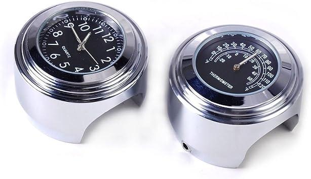 """7//8/"""" 1/"""" Motorcycle Handlebar Black Dial Clock Temp Thermometer Gauge Waterproof"""
