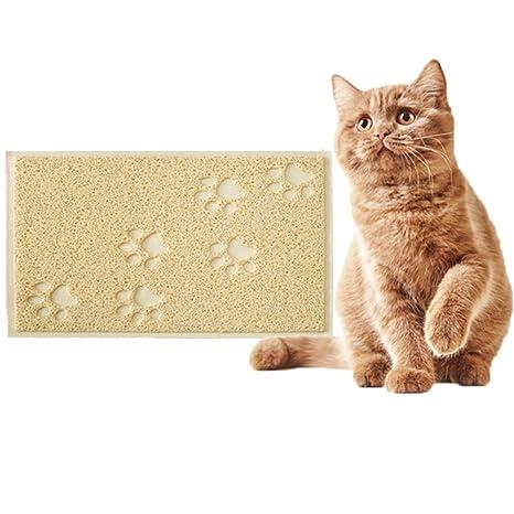 LA VIE Alfombrilla para Comedero de PVC Antideslizante y Impermeable para Gatos Gatitos y Cachorros Tapete