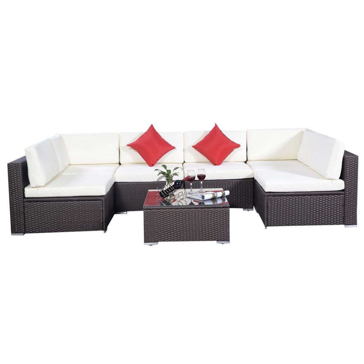 Amazoncom Giantex Outdoor Patio 7PC Furniture Sectional PE