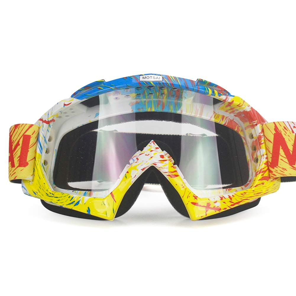 Brille Dirt Bike ATV Cross Riding Ski Fox Motocross Brille Motor f/ür Motorrad UV Ski Snowboard Brille Klare Linse