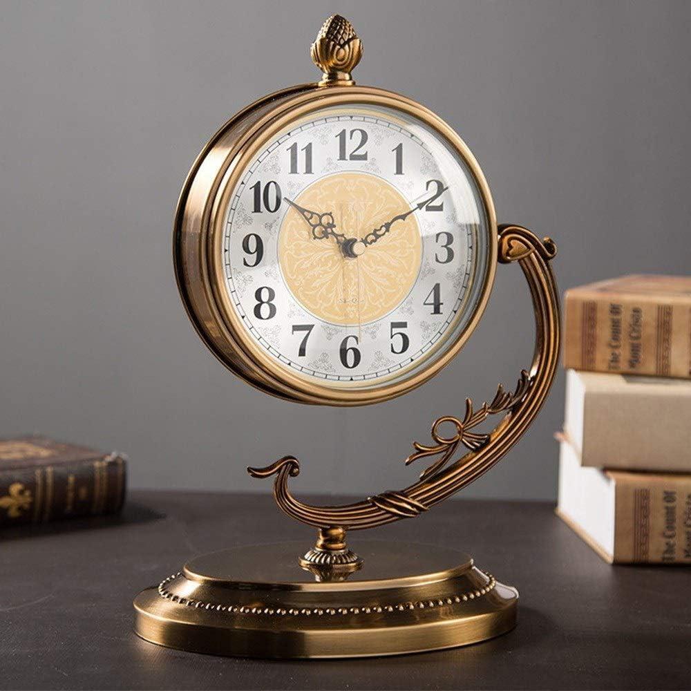 掛け時計 ハイグレードメタルブロンズデスクトップ時計ファッションリビングルームのベッドルームの研究欧州の銅鐘ミュート JPYLY