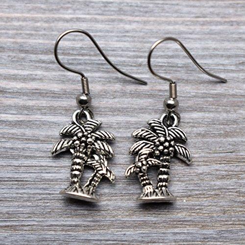 Earrings Wood Palm (Palm earrings, tree Stainless steel silver jewelry)