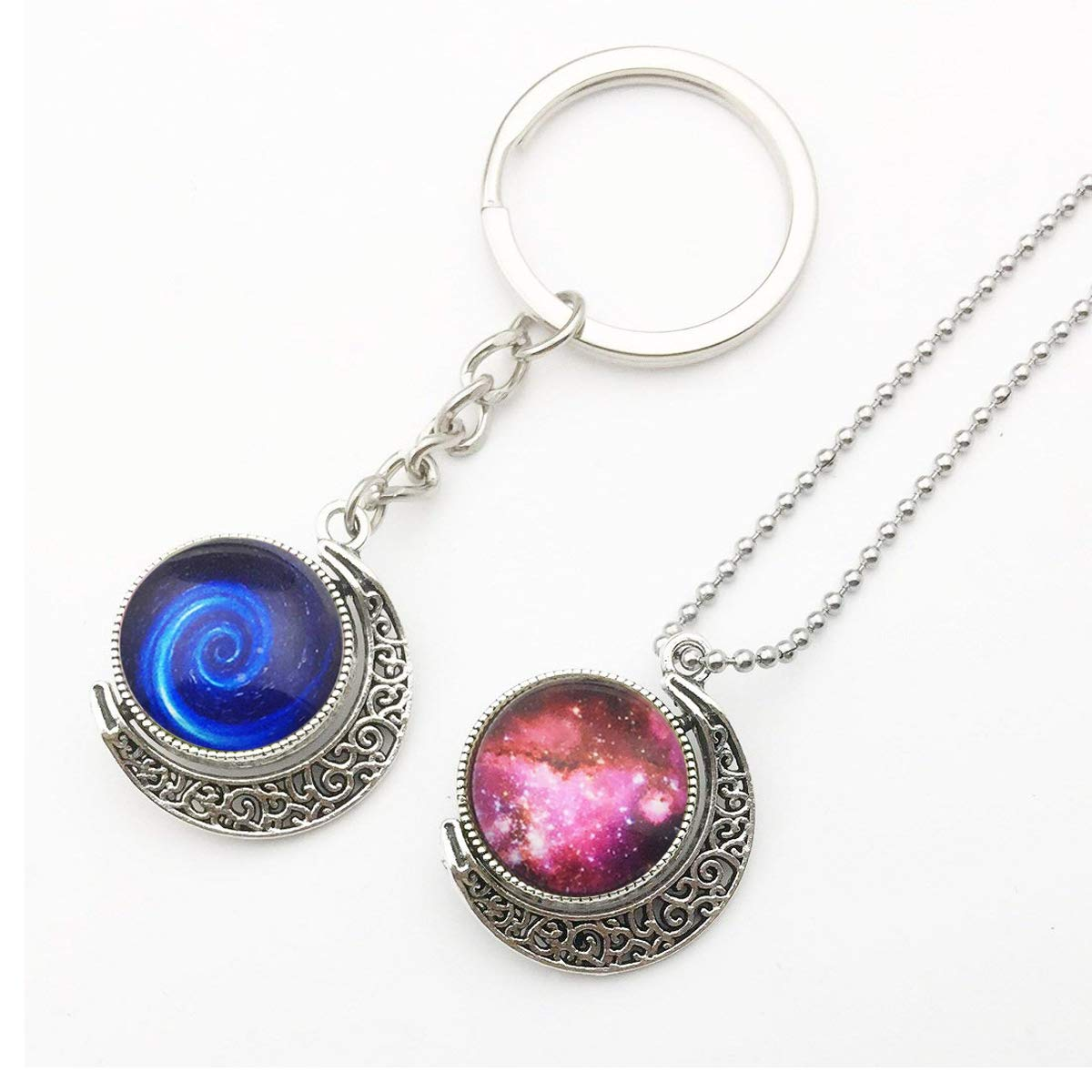 12 PCS Moon Rotation Double Side Round Blank Bezel Pendant Trays 20 PCS Glass Dome Tiles Clear Cameo and 10 PCS Pendant Buckle for Jewelry Making 25mm Pendant Trays Kit