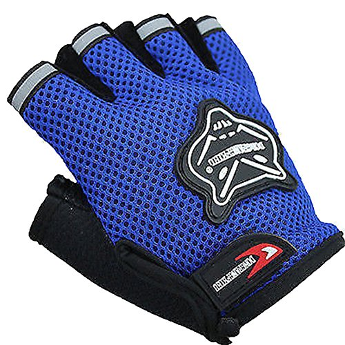 Cloulds_Zone Kids Boys Girls Bike Gloves for Powerlifting, Weight Training, Biking, Cycling - Gym Sports Workout Half Finger Gloves for Ages 8-12 Years Old (Blue)