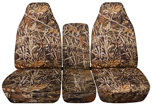 Totally Covers Fits 1994-2002 (2nd Gen) Dodge Ram Camo Truck Seat Covers (40/20/40 Split Bench) w Center Console - Front: Wetland (16 Prints) 1995 1996 1997 1998 1999 2000 2001 w/wo Integrated Belts (Seat 2nd Bench Split)
