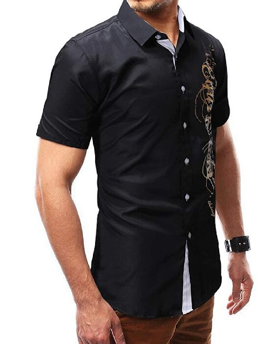 Domple Mens Letters Print Button Down Basic Short Sleeve Dress Shirts