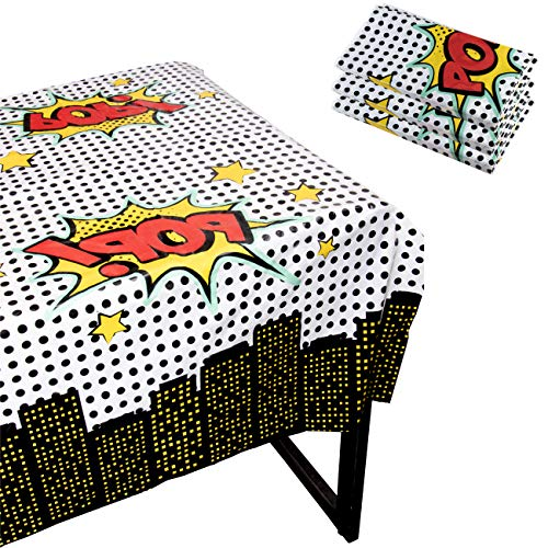 Blue Panda Superhero Party Tablecloth - 3-Pack Disposable Plastic Rectangular Table Covers - Comic Book Themed Party Supplies for Kids Birthday Decorations, 54 x 108 inches -