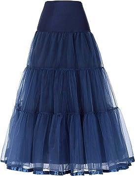NVDKHXG Falda sólida Azul Marino silps Swing Rockabilly Enagua ...