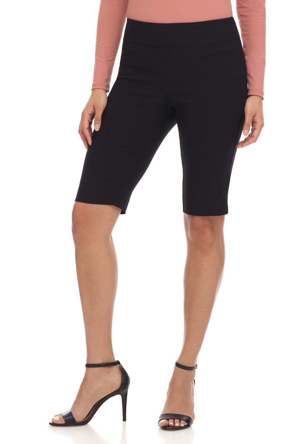 Rekucci Women's Ease in to Comfort Fit Pull-On Modern City Shorts (14,Black Texture)