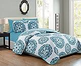 KingLinen 6 Piece Blue/White Medallion Reversible Bedspread/Quilt Set Review and Comparison