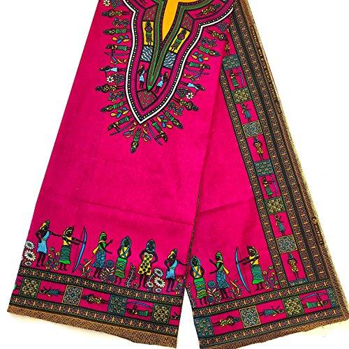 African Dashiki Fabric Unwaxed Ankara 100% Cotton By The Panel Yard FUCHSIA (1 PANEL)