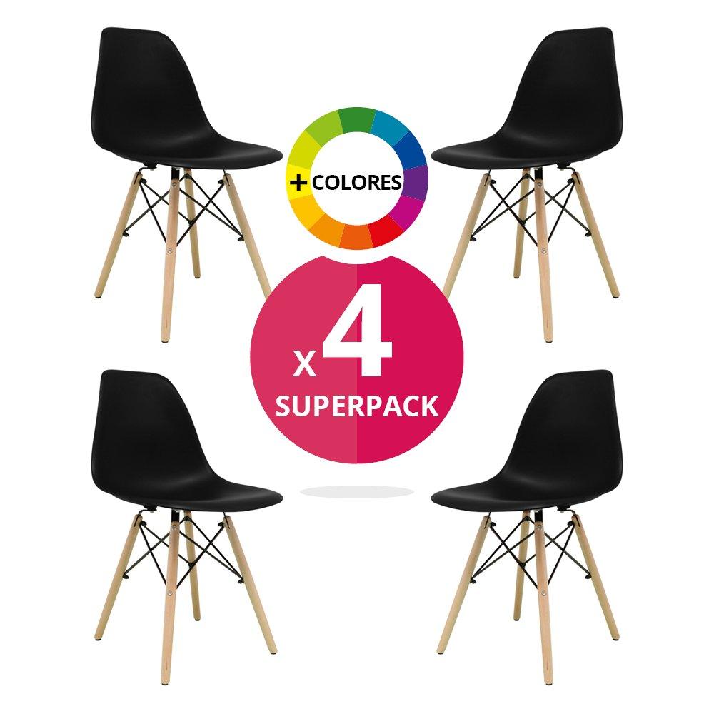 MASTERITEM Stuhl Bettbezug (Pack 4) – Tower One – Stuhl Nordic Skandinavien Inspiriert Stuhl Eames DSW Stuhl (wählen Sie Ihre Farbe) Schwarz